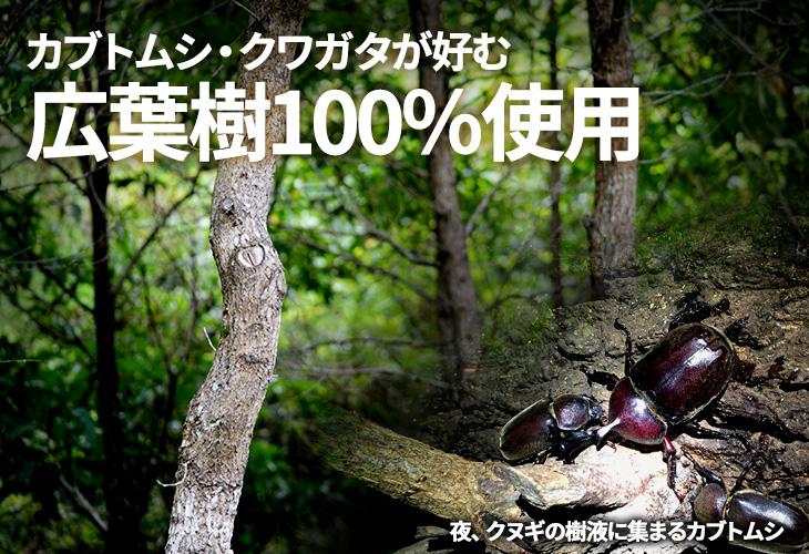 クヌギ・コナラなどの広葉樹100%使用